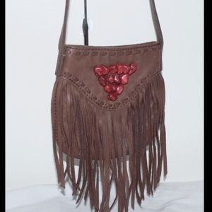 NEW Leather Fringe Festival Cross Body Bag